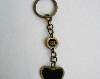 Vintage Brass Tone Heart Keychain