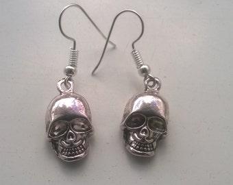 skull earrings, skull jewellery, drop earrings