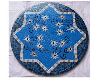 "Mosaic Mandala ""Night Flowers"" - Mosaic Table Top - Mosaic art - Mosaic wall decor"