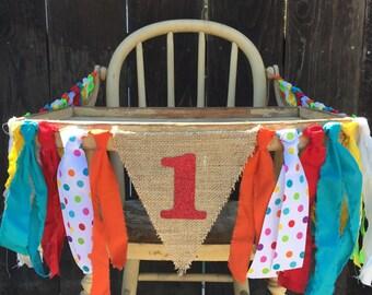 High Chair Banner, Circus Birthday, First Birthday , 1st Birthday, Boy Birthday, Girl Birthday, Photo Prop, Custom Banner, Baby Shower