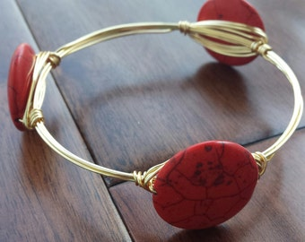 Red Coral Wire Bangle