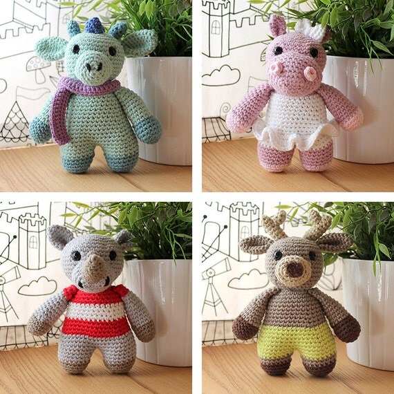 Animals: Dragon, Hippo, Rhino & Reindeer. Amigurumi Pattern PDF.