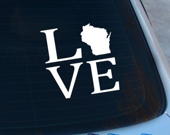 Love Wisconsin Decal - State Decal - Home Decal - WI Sticker - Love - Laptop - Macbook - Car Decal
