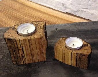 Stunning Unique Pair of Spalted Wood Tealight Holder - great addition to any home and a fantastic present for Christmas, wedding or birthday