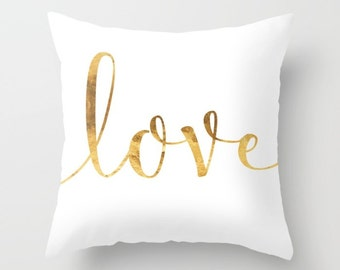 Gold Love Cushion Cover. Throw Pillow. White and Gold Pillow Case.