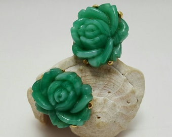 Green Glass Rose Earrings