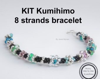 Kumihimo KIT pattern tutorial bracelet 8 Strands, Sterling Silver clasp included!