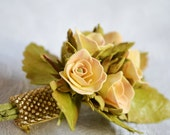 Yellow and Golden Floral Brooch with Miniature Roses, Flower Brooch, Groom's Boutonniere, Bridal Brooch, Wedding Brooch, Gift for Her