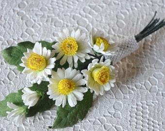 Wedding White Summer Flower Wild Daisies Bridal Brooch, Chamomile Groom's Boutonniere, Bridesmaid Brooch, Anniversary Gift, Custom Groom