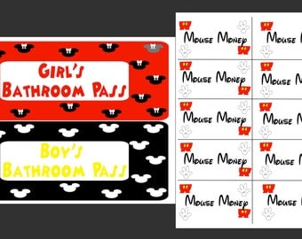 Red, Yellow, Black, and White Disney - Mickey Mouse Inspired Classroom Decor and Necessities (ZIP files)