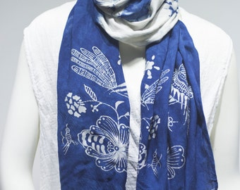Asian style hand made cotton scarf with high-end cotton