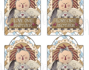 Love one another Prim Raggedy Angel with Crow Instant Download 5 x 3 Hang Tags + BuY OnE GeT ThRee FRee PRiNTaBLeS!