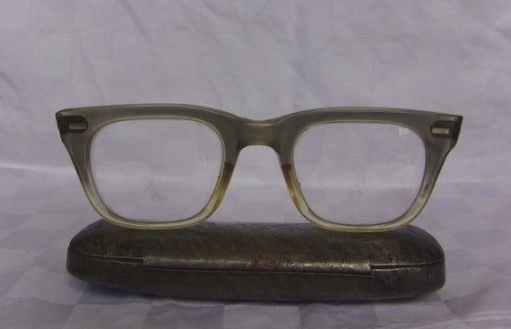 Heavy Frame Grey Amber Eyeglasses Large Size Heavy Frame Cat