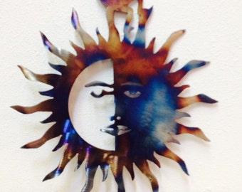 Sun Moon Kokopelli Metal Art