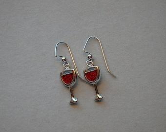 Wine charm dangle earrings