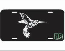 Humming bird license plate, front car license plate, beach vanity plate tag, car tag, cute girly car accessory, curlu hummingbird, nature