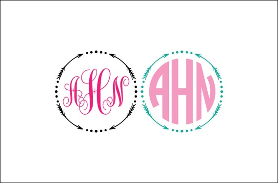 round arrow monogram unique digital download arrow svg dxf