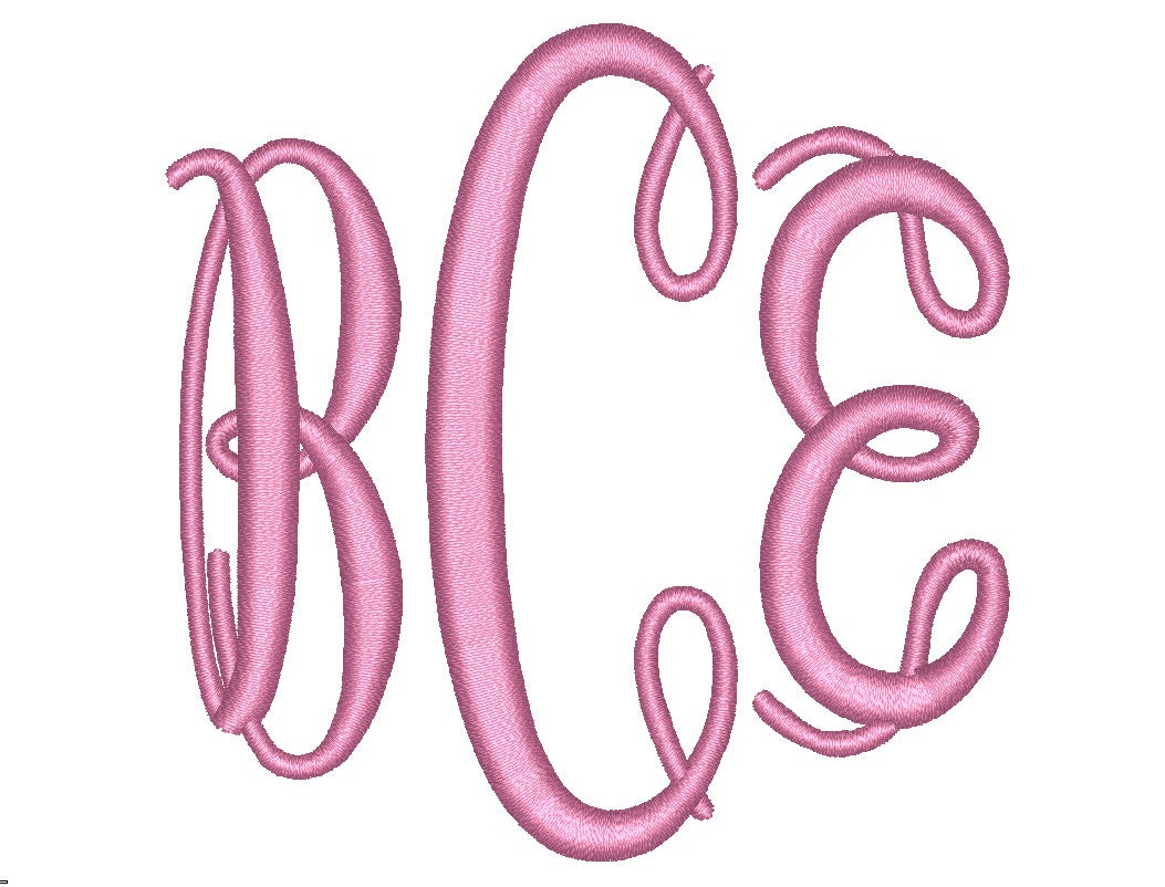 Sale size oval monogram letters embroidery font bx