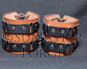 Wrist cuffs with leather
