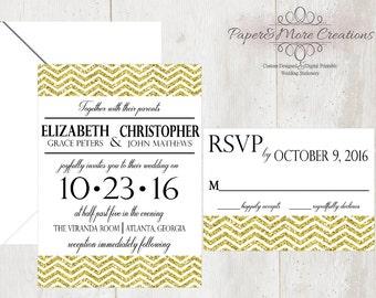 "PMC ""Chevy Love"" -  Digital Printable Wedding Invitation Suite - Modern Chic Gold Glitter Chevron Invitation and RSVP Cards"