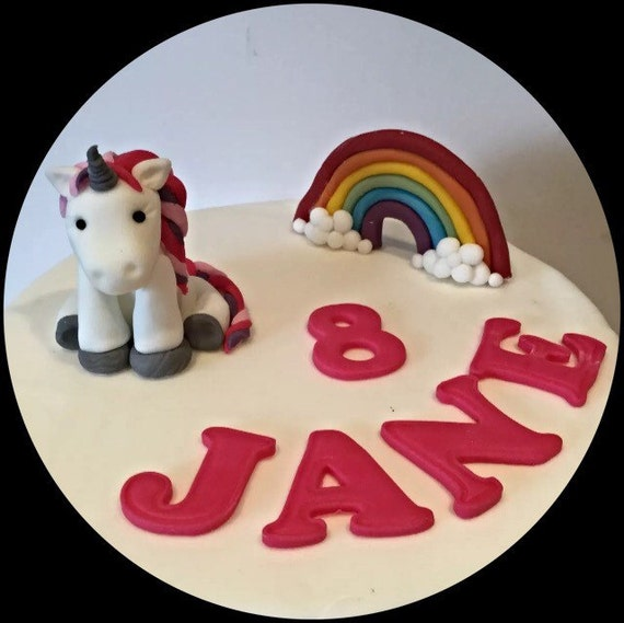 Edible Cake Pictures Uk : Personalised Edible Unicorn & Rainbow set Cake Toppers.