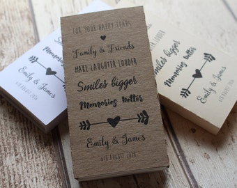 10 Personalised Wedding Favour Tissues for your Happy Tears/Family and friends Love arrow