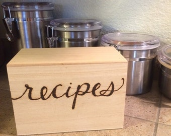Recipe Box - Wood Burned Handmade Kitchen Gift