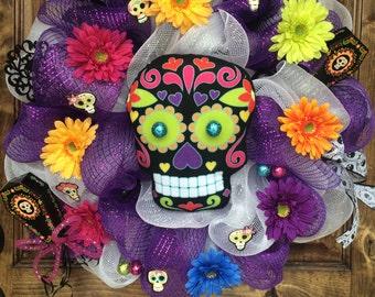 Purple & White Day of the Dead Deco Mesh Wreath, Deco Mesh Halloween Wreath, Halloween Wreath