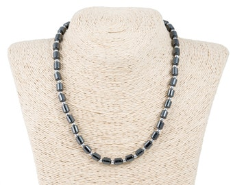 Hematite Beads Necklace with Silver Beads