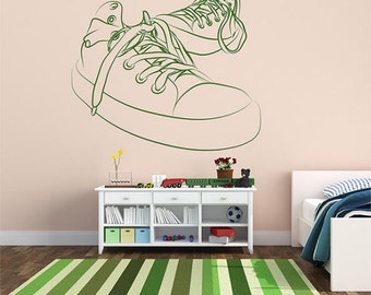 Teenager shoes Wall decal,Children wall decal,Kids wall vinyl,Kids Wall Art, Boy Vinyl wall, Wall Vinyl for Boys, Wall stickers for boys 004
