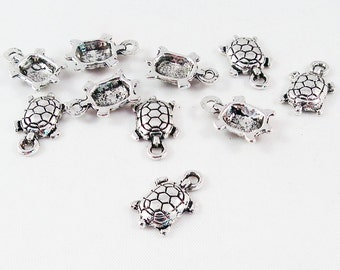 BCP73 - Lot of 5 Miniatures charms pendants turtle aged Silver / 5 Pieces Miniature Tibetan Silver Cute Turtle during Charms