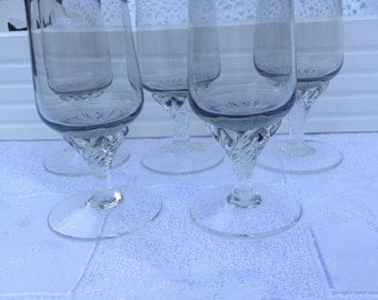Stunning Set of Five Small Grey Sherry/Liquer Glasses