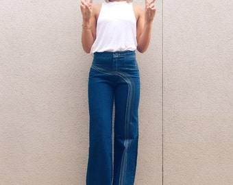 Vintage 1970s Viceroy Embroidered Bell Bottoms