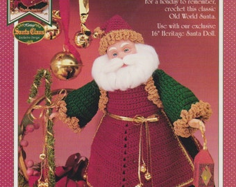 Old Tyme Santa, Fibre Craft Christmas Doll Clothes Crochet Pattern Booklet FCM437