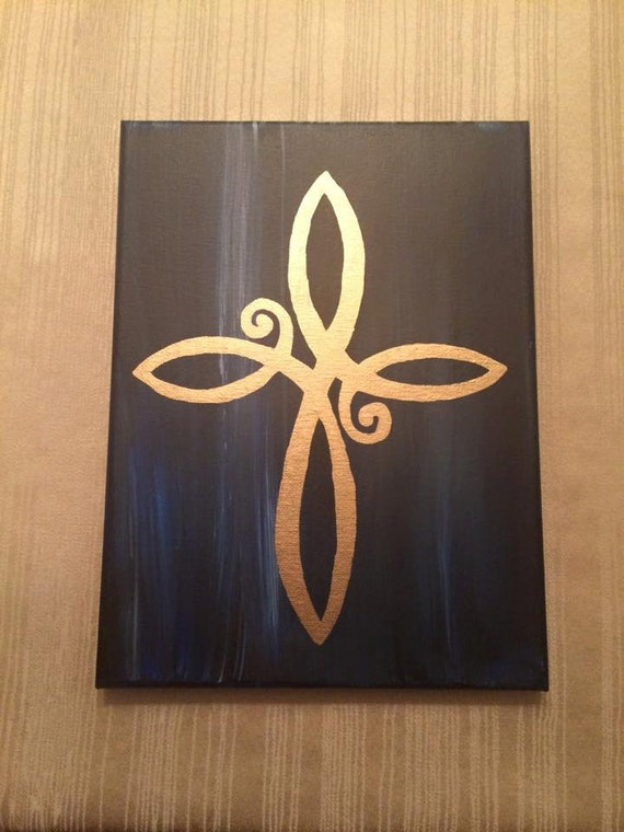 Items similar to infinity cross christain painting house for Cross paintings on canvas