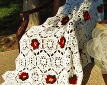 Holiday Flowers in Snow- Crochet Afghan Blanket -L/Soft/3D/Brilliant White/Burgundy Red/Hunter Green/Pale Lemon Yellow/Snowflakes