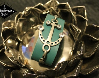 Handmade, Turquoise Leather, Anchor Cuff!