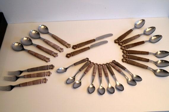 Vintage cutlery set with a boxlarge set by vintagdesign on etsy - Funky flatware sets ...
