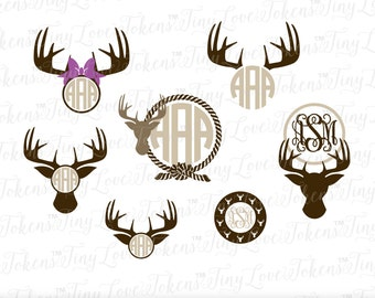 Buck Deer Doe Family Monogram SVG Design for Silhouette and other craft cutters (.svg/.dxf/.eps/.pdf)
