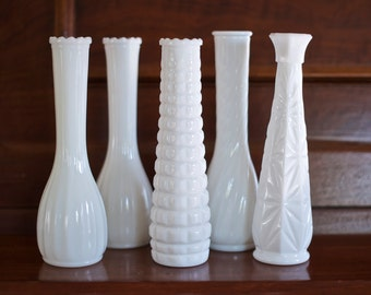 Set of 5 Vintage Milk Glass Stem Vases