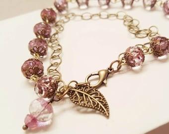 Pink Czech Glass Brass Wire Wrapped Double Strand Bracelet