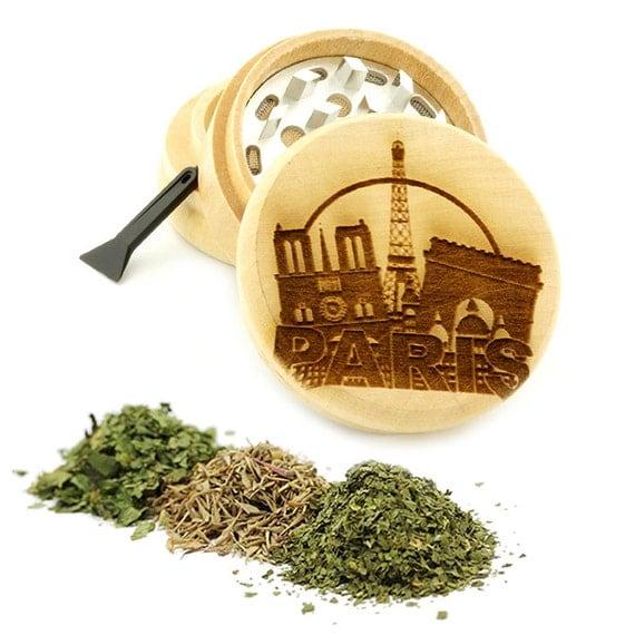 Paris Design Engraved Premium Natural Wooden Grinder Item # PW61716-34