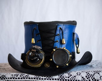 SUPER STEAMPUNK!! Blue Corset Top Hat with Goggles