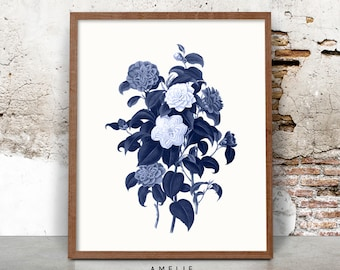 Botanical Print, Blue Vintage Flower Illustration Wall Art, Hampton Style Decor, Printable Digital Download, Indigo, Navy Blue