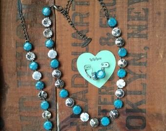 Turquoise & Crystal Bracelet