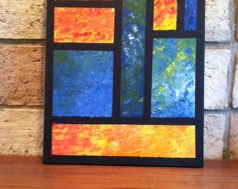 Orange & Blue Grid #2