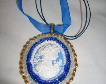 Annabelle Lee    unique beaded cameo