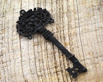 Skeleton Key, Old Key, Antique Key, Victorian Key, Large Key, Black Key, Decorative Key, Wedding Decoration, House Warming Gift