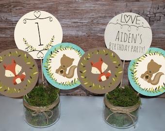 Woodland Birthday centerpieces, Woodland birthday decorations, Woodland party centerpieces, Animal birthday centerpieces Printable