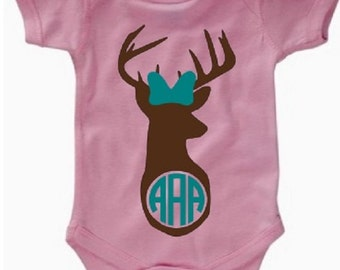 Doe with A Bow Monogrammed Onesie